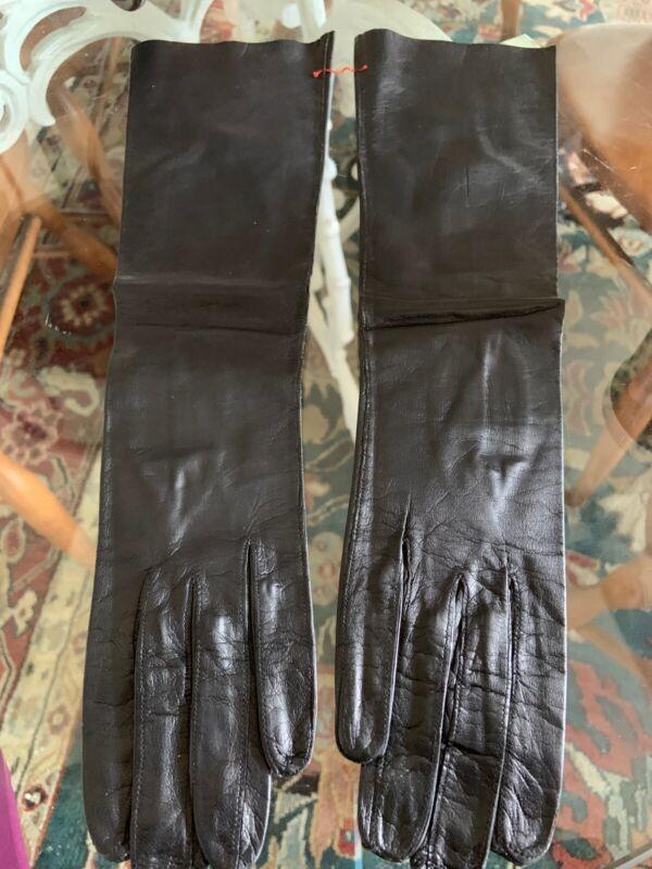 "Vintage KISLAV Gloves FRANCE-Soft Black Kid Leather 15"" Length - Sz 6/2 New"