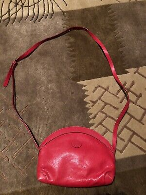 Genuine Vintage GUCCI Red Logo Leather GG Crossbody Bag Rare Italy