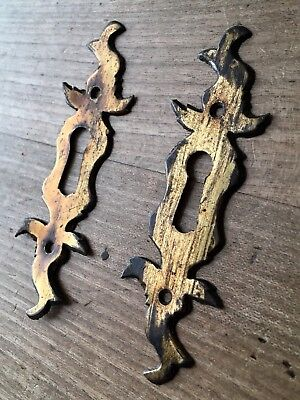 Escutcheon Keyhole Cover Victorian Reclaimed Old Brass Vintage Original £15 Each