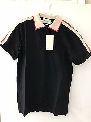 Gucci Mens Polo Shirt Black - Medium /w Tags