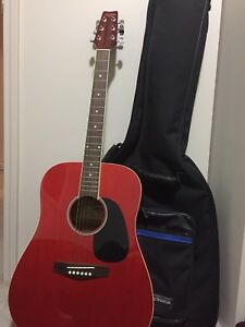 Red Acoustic Guitar w/ Black Carrying Bag
