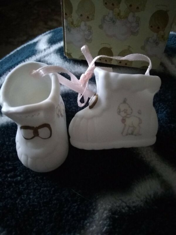 1999 Precious Moments Baby's First Christmas Pink Girl Shoes Porcelain Ornament
