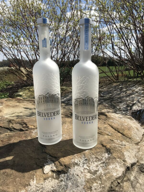 Belvedere Vodka  2  EMPTY  Bottles. 1.75 liter