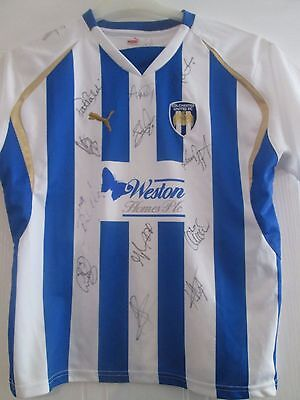 Colchester United 2009-2010 Squad Signed Home Football Shirt COA /40906 image