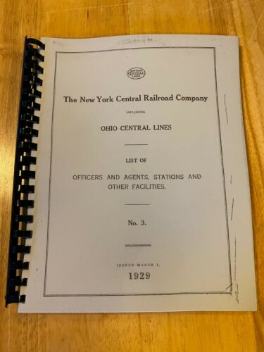 1929 New York Central Railroad Co Officers Agents Station spiral bound REPRINT