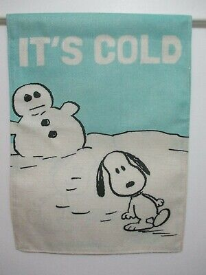PEANUTS SNOOPY AND SNOWMAN - IT'S COLD TILTED BUDDIES - SMALL 13x18 FLAG - NEW