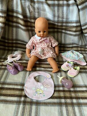 """Vintage 1996 Original Baby Annabell 17"""" Soft Body Interactive Doll & Accessories"""