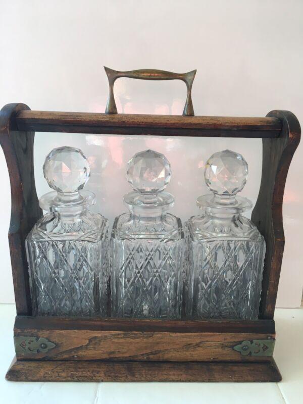 Antique English Oak  Wood & Brass Mounts Tantalus w/ 3 Crystal Bottles