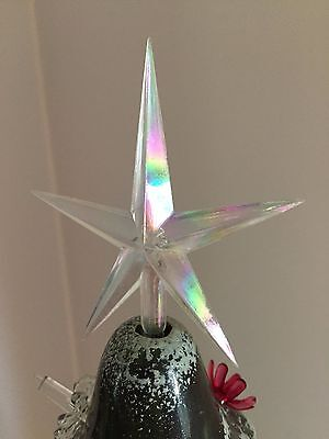 """LARGE CLEAR IRIDESCENT AURORA STAR 4"""" TOPPER Ceramic Christmas Tree Lights 3/16"""""""