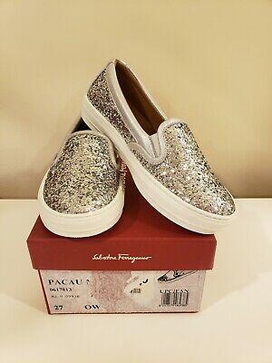 "Salvatore Ferragamo ""Mini Pacau"" silver glitter slip-on sneakers 27 EUR/10.5 US"