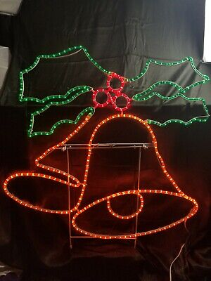 Vtg Christmas rope light double Bells Outdoor LED Lighted Decor Steelframe holly