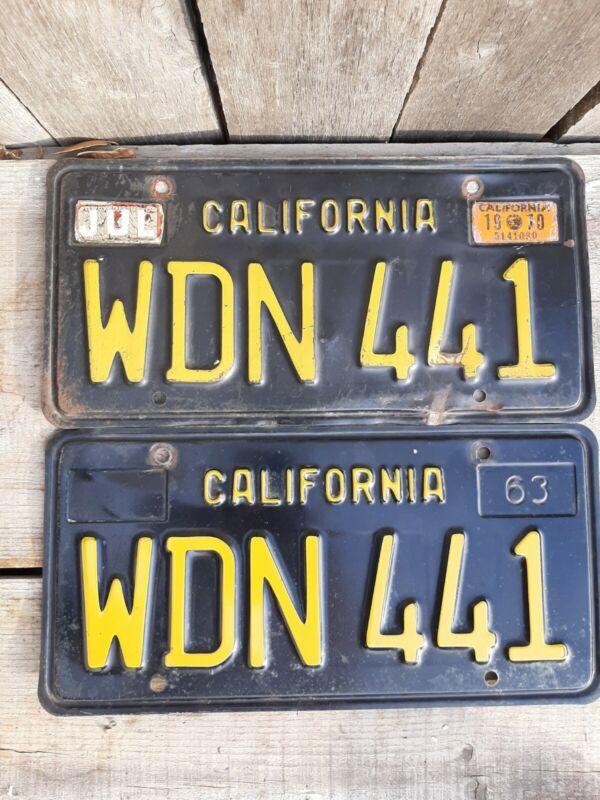 """NICE VINTAGE """"1963"""" CALIFORNIA PLATES (PAIR)"""