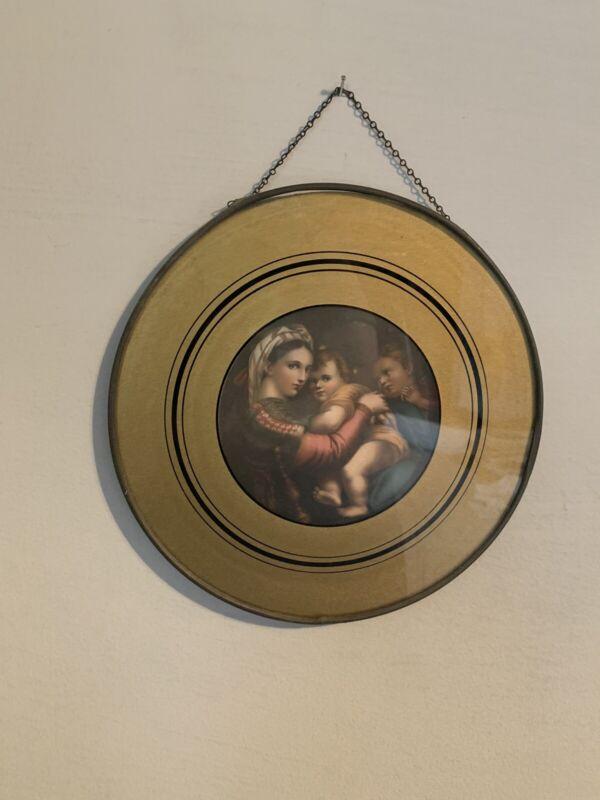 Antique Victorian Glass Flue Cover Motger And Children Gold Trimmed Estate Find