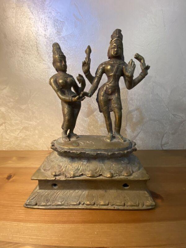 Antique Goddesses Durga & Vaishnavi On Mount Hindu Bronze Statue