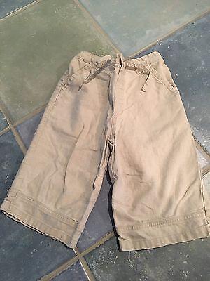 NEXT UK Brand Boys Linen Shorts Size 3-4 Y Khaki Dress Easter EUC