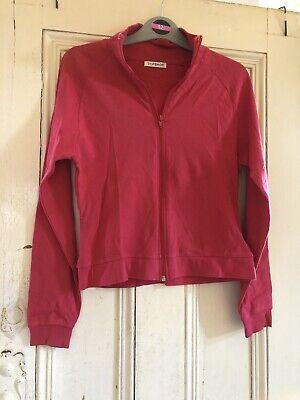 Vintage Women's Pink/Red Zip Up Jumper, Topshop, Size UK 12