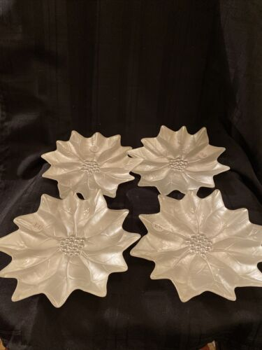 Princess House Holiday Poinsettia Dessert Plates Set Of 4 828  - $50.00