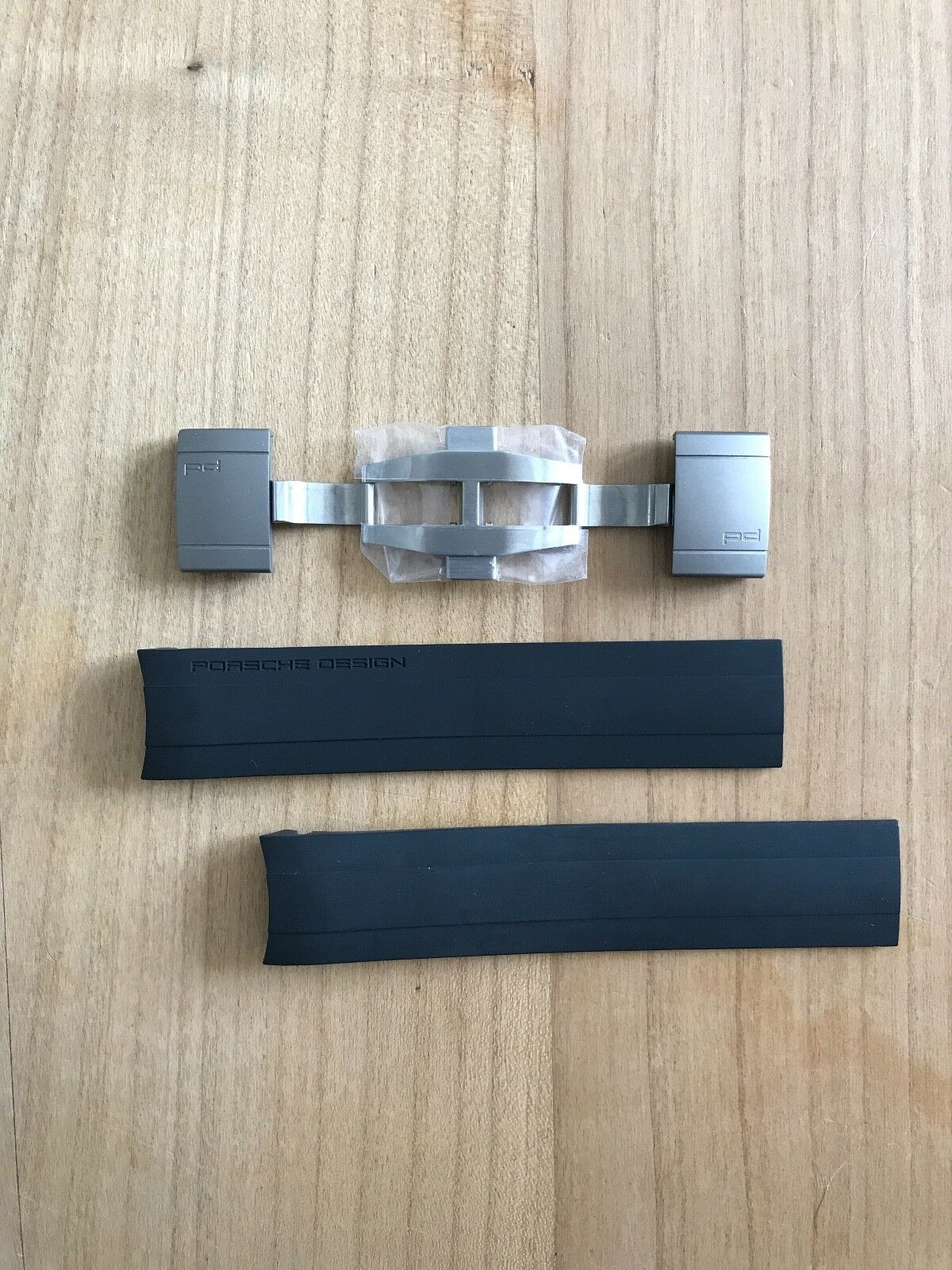 Porsche Design Kautschuk Armband mit Titan Faltschließe für P6612 und P6613, Neu