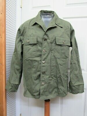 Post WW2 US M47 HBT Jacket Shirt OD 7 1949 Date w/ Star and Wreath Buttons Large
