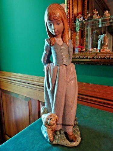 "LLADRO ROSITA #2085 GRES PORCELAIN FIGURINE, GIRL W. DOG, 14"", CATALA SCULPTOR"