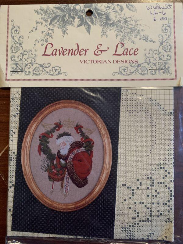 "Lavender & Lace Victorian Designs Cross Stitch Leaflet ""Gift Of Peace"" Santa"