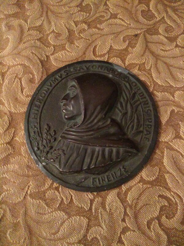 Antique Girolamo Savonarola 3 1/2 inch  Plaque