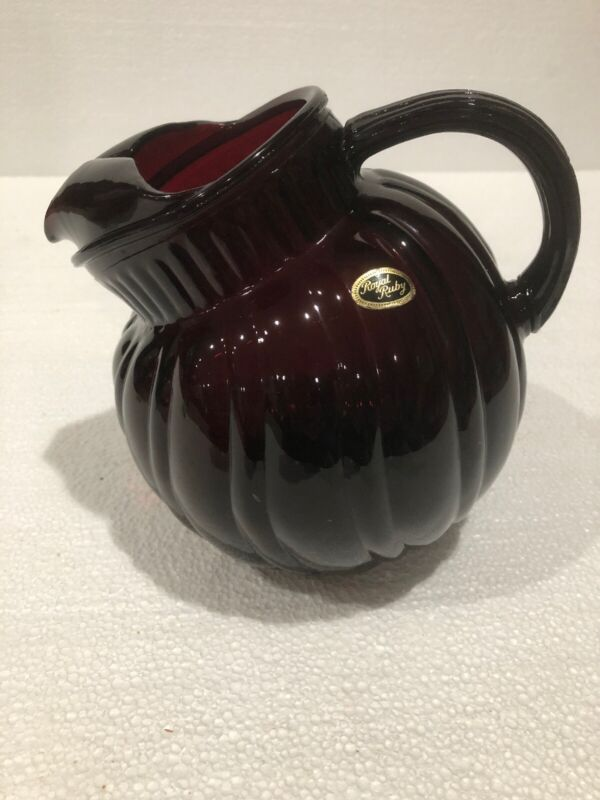 Royal Ruby Swirl Tilted Ball Pitcher