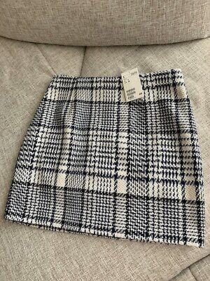 H&M Pattern weave houndstood Short Wool Mini Skirt Navy White plaid US 6 8 UK 12 - Short Wool Skirt