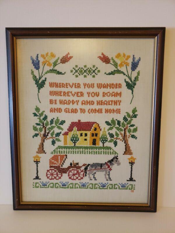 Vintage Cross Stitch Sampler Home Poem Saying Hand Embroidered Piece Framed