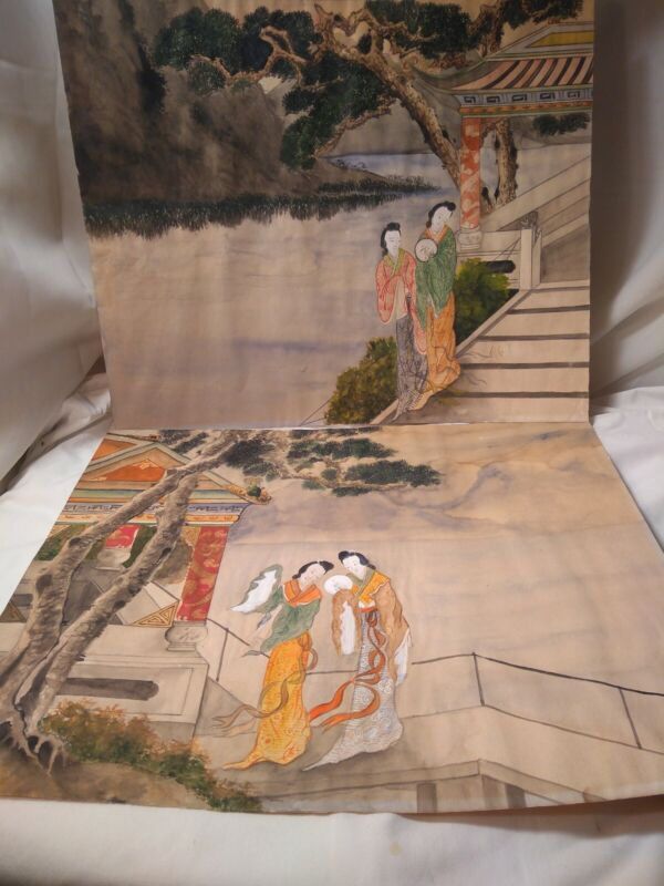 2 CHINESE GEISHA GIRL BONSAI TREE mountains Water WATERCOLOR ON PAPER UNSIGNED