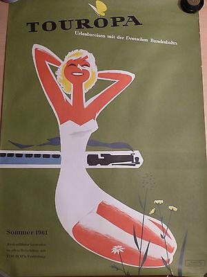 Original Touropa Plakat Sommer 1961 Bahnreisen A1 Format