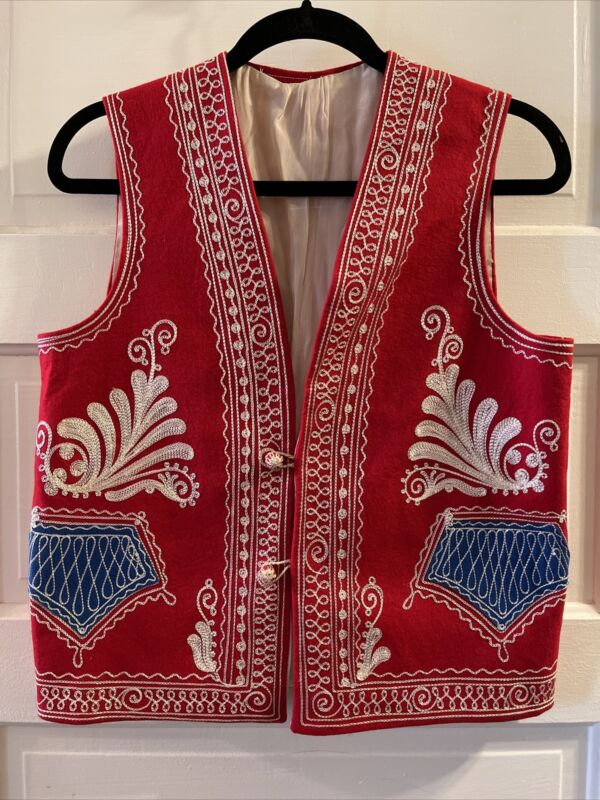 Vintage Polish Folk Art Vest Red Hand Made Intricate Embroidery M/L