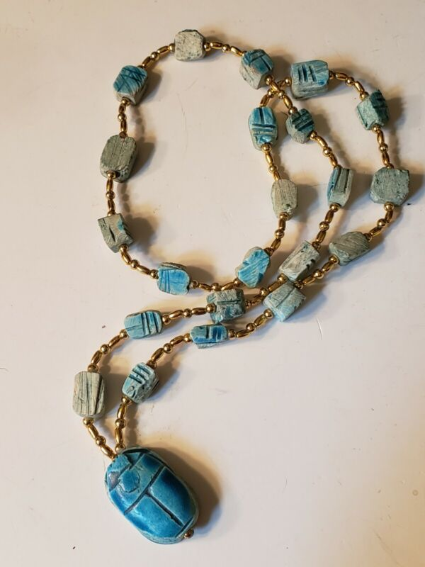 Vintage Egyptian scarab bug turquoise color clay faience bead necklace
