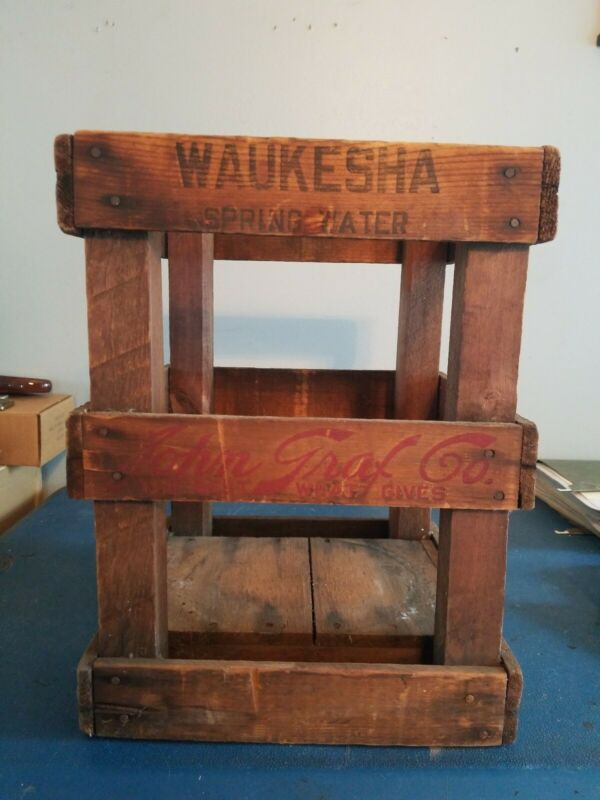 (VTG) 1920s grafs & waukesha spring water Bottle Wood Crate Carrier wis rare