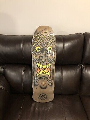 Santa Cruz Rob Roskopp Face Skateboard Deck Brown Natural Stain