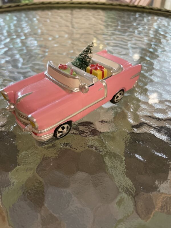 Dept 56 Snow Village Christmas Cadillac Pink Convertible Caddy # 5413-5.