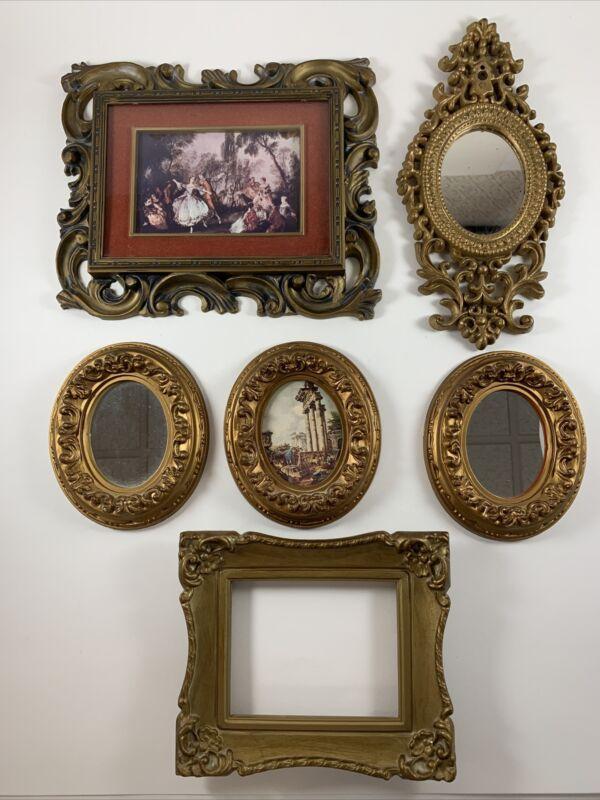 Lot of 6 Hard Plastic Ornate Framed Pictures Mirrors Vintage