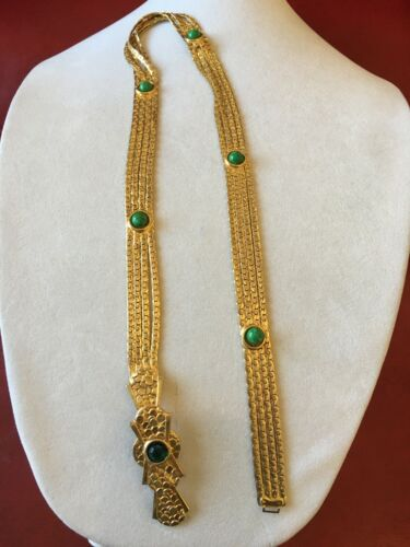 Vintage Christian Dior Signed Runway Gold Chain Wrist Belt Bejeweled Cabochons
