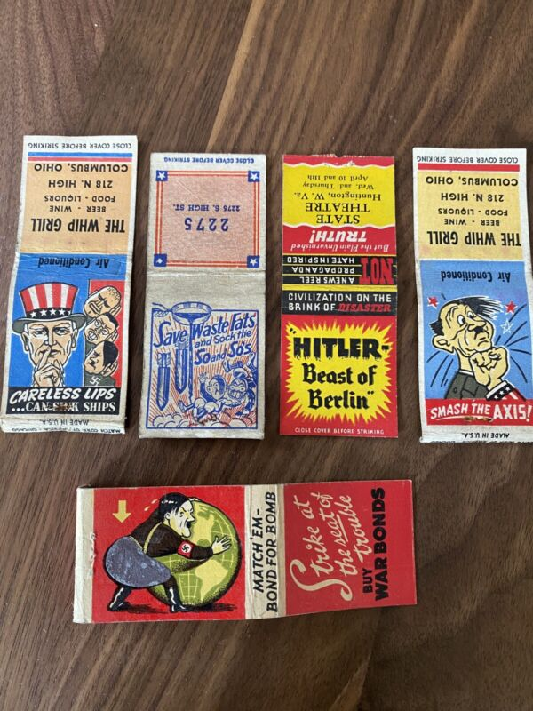 WWII Anti-Hitler scarce Bombs For Bonds matchbook Lot 1940