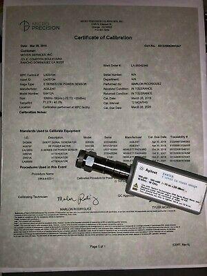 Agilent E4412a E-series Cw Power Sensor - 10mhz-18ghz - Calibrated W015