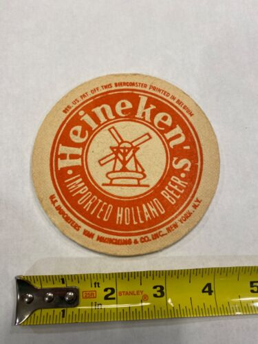 Heineken Beer Coaster Imported Holland Beer Red and Green Sided 4.25""