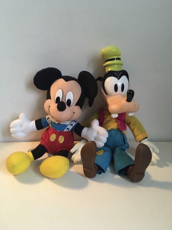 "Vtg Walt Disney 16"" Goofy & Mickey Mouse Plush Dolls"