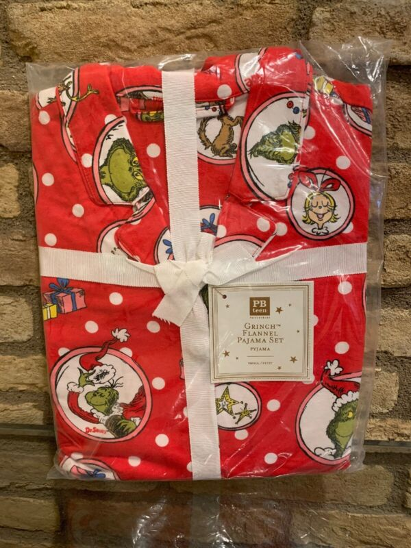 Pottery Barn Teen Grinch Flannel Pajama Set Size Small NEW