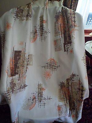 Vintage Mid Century Atomic Fiberglass Curtain Drape Panels (2) Brown Orange #2