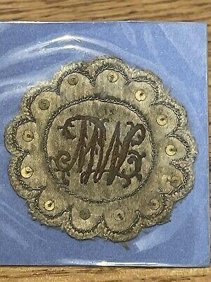hand embroidered Victorian miniature pocket watch sampler