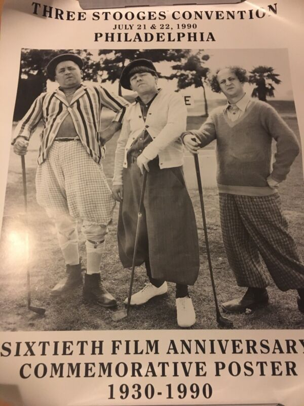 Three Stooges Convention Promo Poster 1990 60th Film Anniversary 30x24 Rolled
