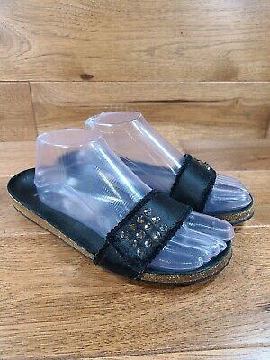 Pedro Garcia Woman's Black Cork Slip On Studded Sandal Size 39, US 9