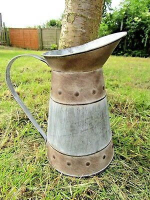 Hand Finished Zinc Metal Embossed Edge Indoor Plant Flower Watering Can Vase Jug