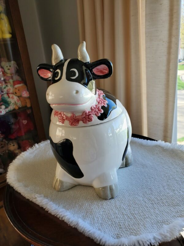 Cow With Flower Necklace Cookie Jar Ceramic