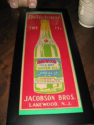 """Vintage c.1940 Lakewood Ginger Ale Soda Pop Bottle 24"""" Sign Jacobs Bros."""